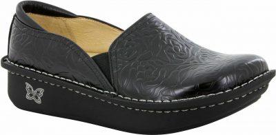 Debra Black Embossed Leather