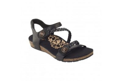 Jillian Braided Quarter Strap Sandal Black Leather