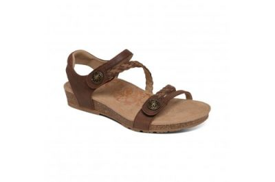 Jillian Braided Quarter Strap Sandal Dark Brown Leather