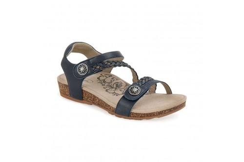 Jillian Braided Quarter Strap Sandal Navy Leather