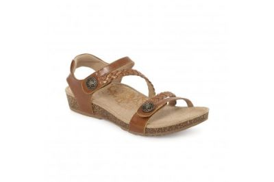 Jillian Braided Quarter Strap Sandal Cognac Leather
