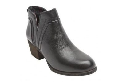 Anisa V Cut Bootie Black Leather