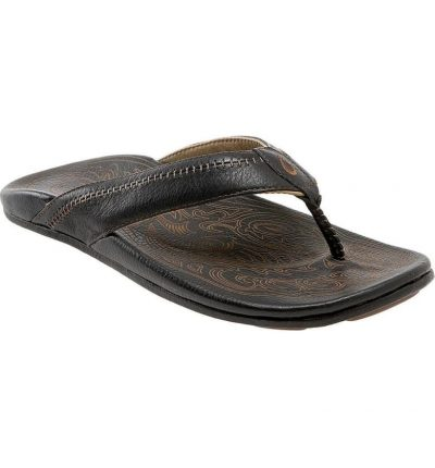 Hiapo Leather Black Sandal