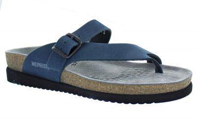 Helen Navy Blue Nubuck Leather Sandal